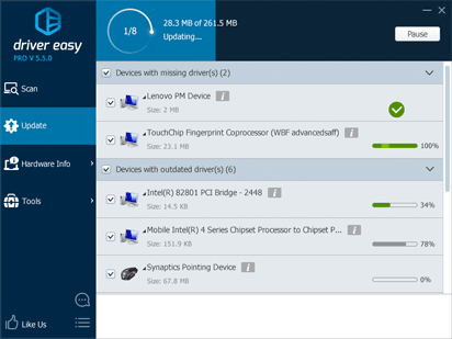Driver Easy update interface
